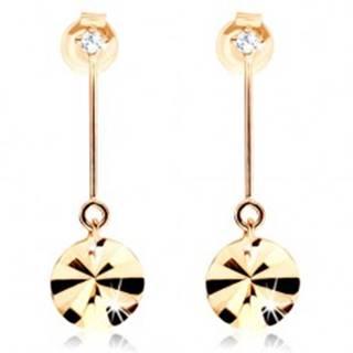 Zlaté náušnice 585 - kruh visiaci na paličke, lúčovité ryhy, zirkón