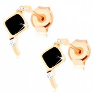 Zlaté náušnice 585 - tenký oblúčik s čiernym kosoštvorcom, zirkóny