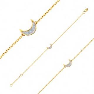 Zlatý 14K náramok - jemná lesklá retiazka, polmesiac vykladaný zirkónmi
