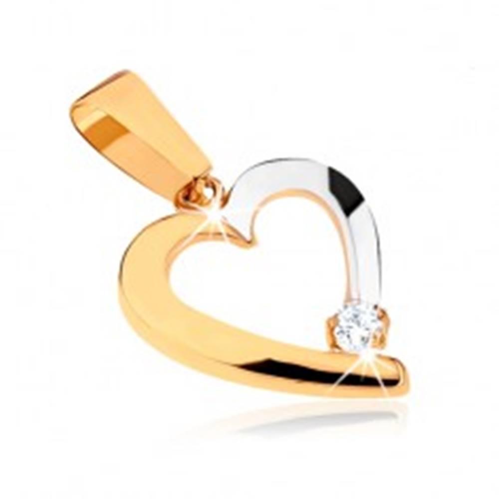 Šperky eshop Dvojfarebný prívesok v 9K zlate - obrys nesúmerného srdca, číry kamienok