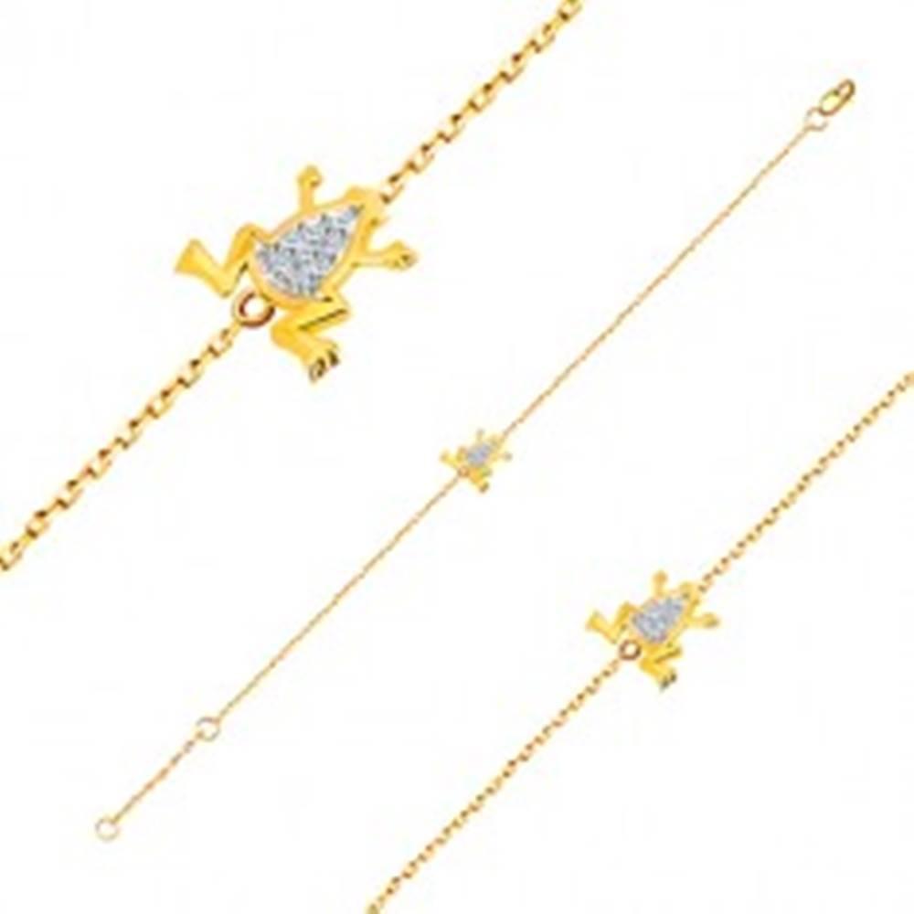 Šperky eshop Náramok v 14K zlate - jemná retiazka, žabka s bielym zlatom a zirkónmi
