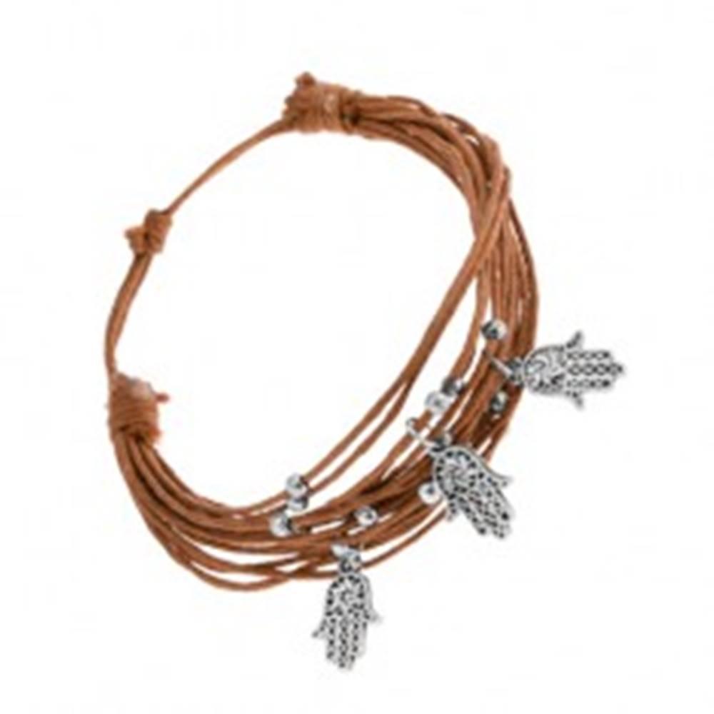 Šperky eshop Náramok z motúzikov svetlohnedej farby, oceľové ozdoby - guličky, Fatimine ruky