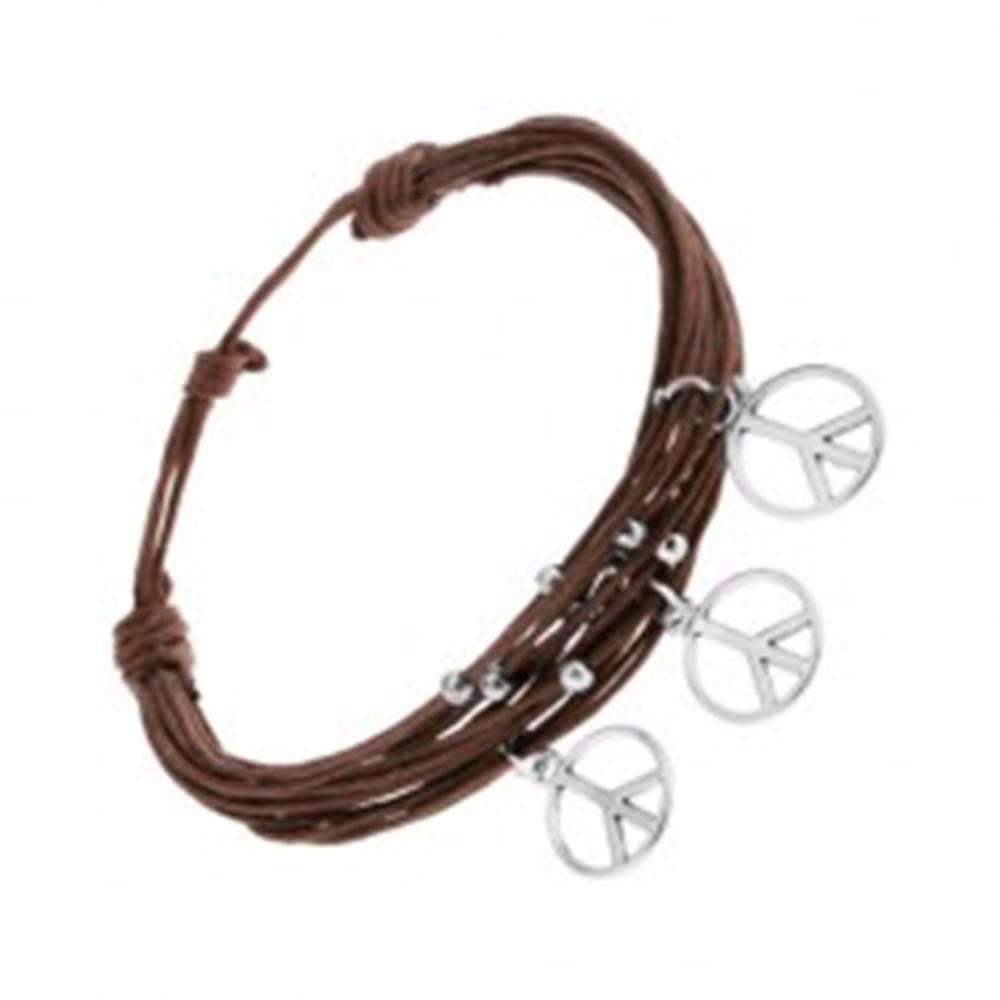 Šperky eshop Náramok zo šnúrok, hnedá farba, strieborné guličky a prívesky - znak mieru
