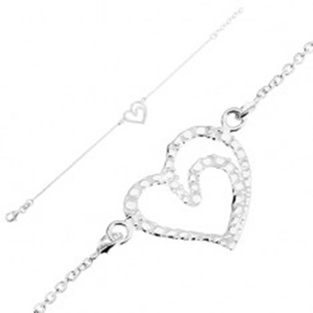 Šperky eshop Nastaviteľný náramok, striebro 925, kontúra srdca - lesklé gravírované guličky