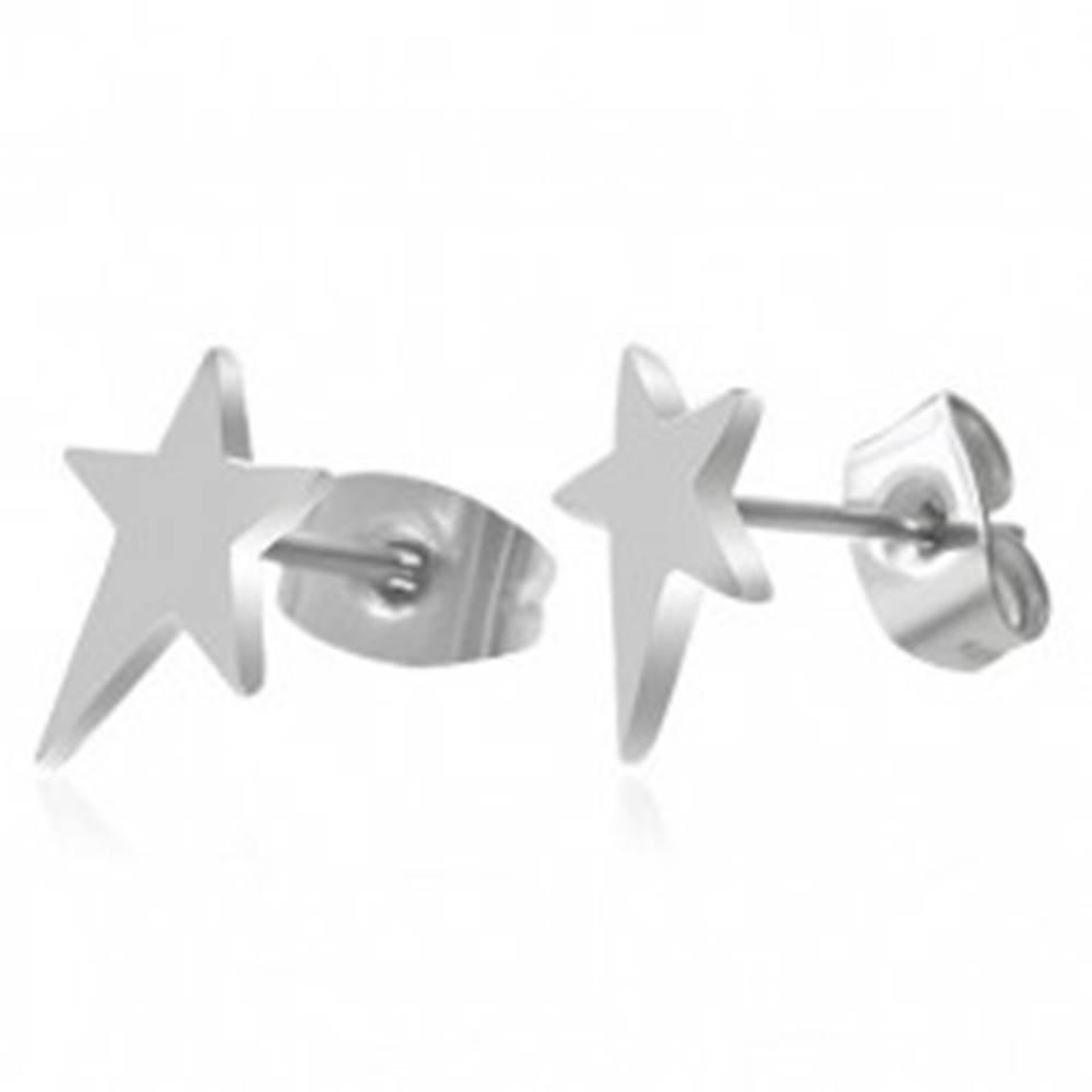 Šperky eshop Náušnice, chirurgická oceľ, asymetrická hviezda, vysoký lesk, puzetky