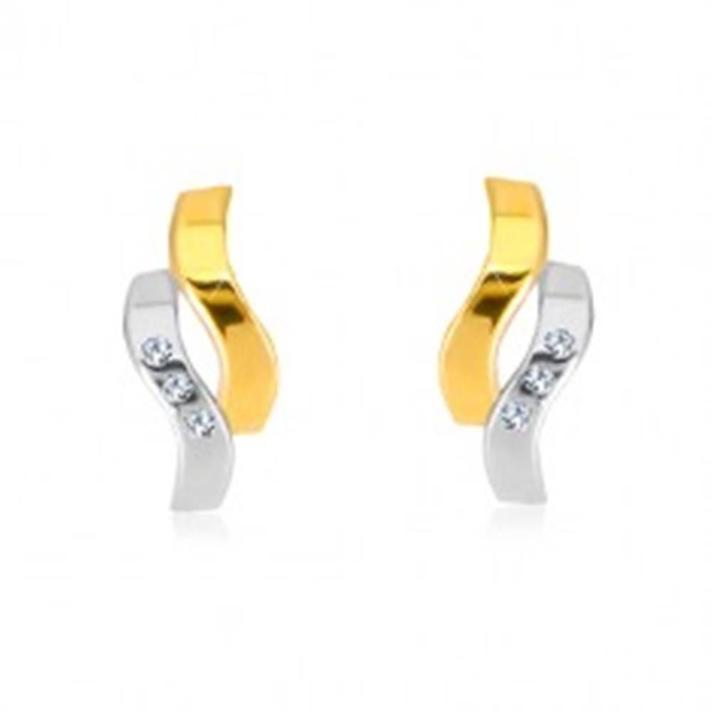 Šperky eshop Náušnice v kombinovanom 14K zlate - dve zvlnené línie, drobné zirkóny