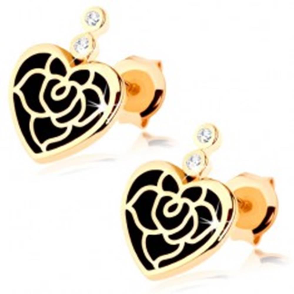 Šperky eshop Náušnice v žltom 14K zlate - pravidelné srdce s čiernou glazúrou, ruža, zirkóny