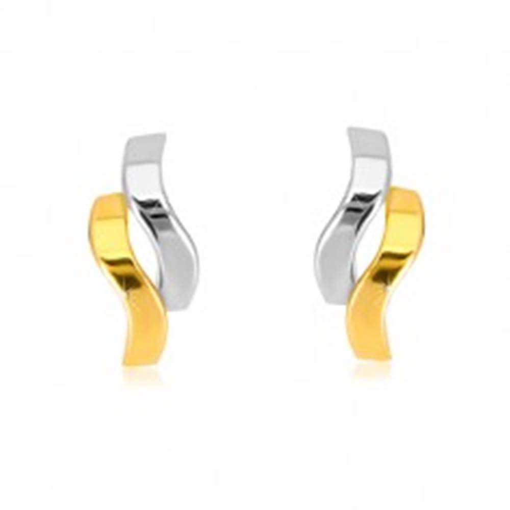 Šperky eshop Náušnice z kombinovaného zlata 585 - lesklé dvojfarebné vlnky, puzetky