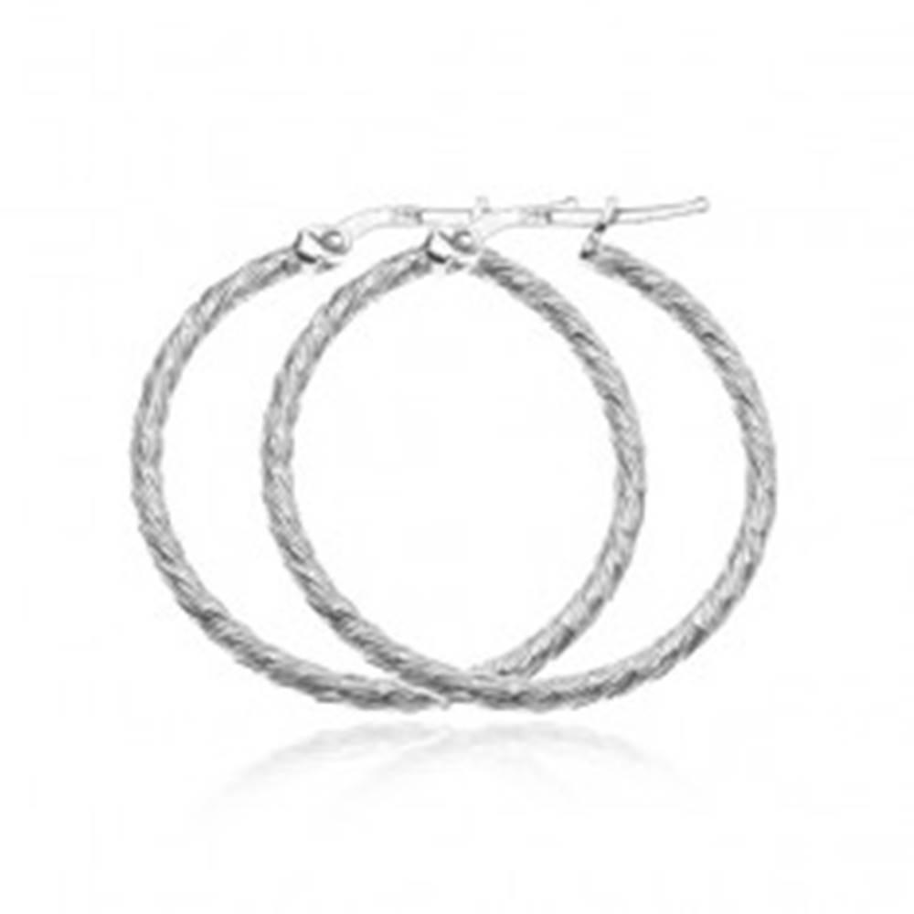 Šperky eshop Náušnice zo striebra 925 - kruhy s krátkymi hustými zárezmi, 40 mm