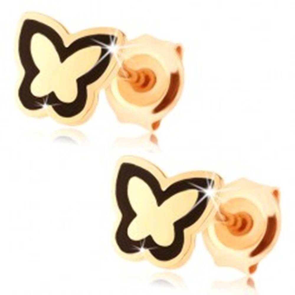 Šperky eshop Náušnice zo zlata 585 - lesklý plochý motýlik, obrys z čiernej glazúry
