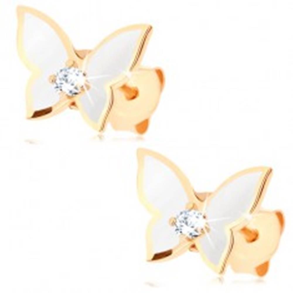 Šperky eshop Náušnice zo zlata 585 - malý motýlik, krídla pokryté bielou glazúrou, číry zirkón