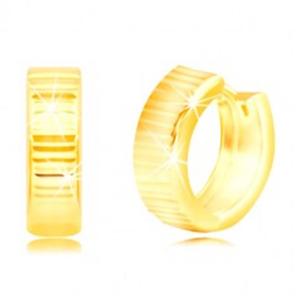 Šperky eshop Náušnice zo žltého 14K zlata - lesklé krúžky zdobené horizontálnymi líniami