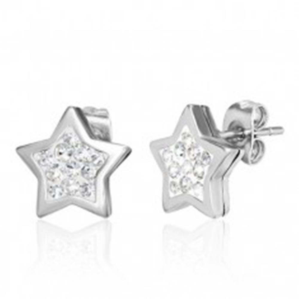 Šperky eshop Oceľové náušnice striebornej farby, hviezda zdobená čírymi zirkónmi