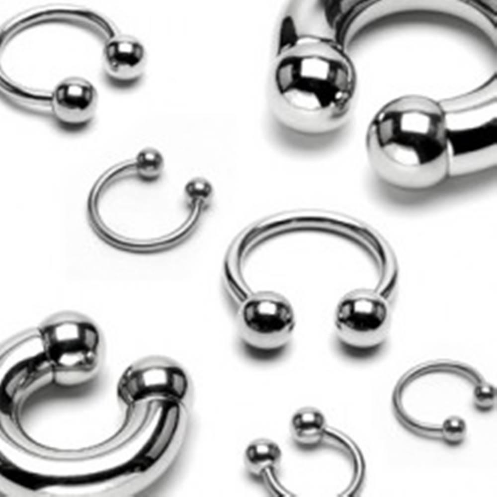 Šperky eshop Oceľový piercing - podkova s lesklým povrchom ukončená guličkami, hrúbka 3 mm - Hrúbka x priemer x veľkosť guličky: 3 mm x 12 mm x 6 mm
