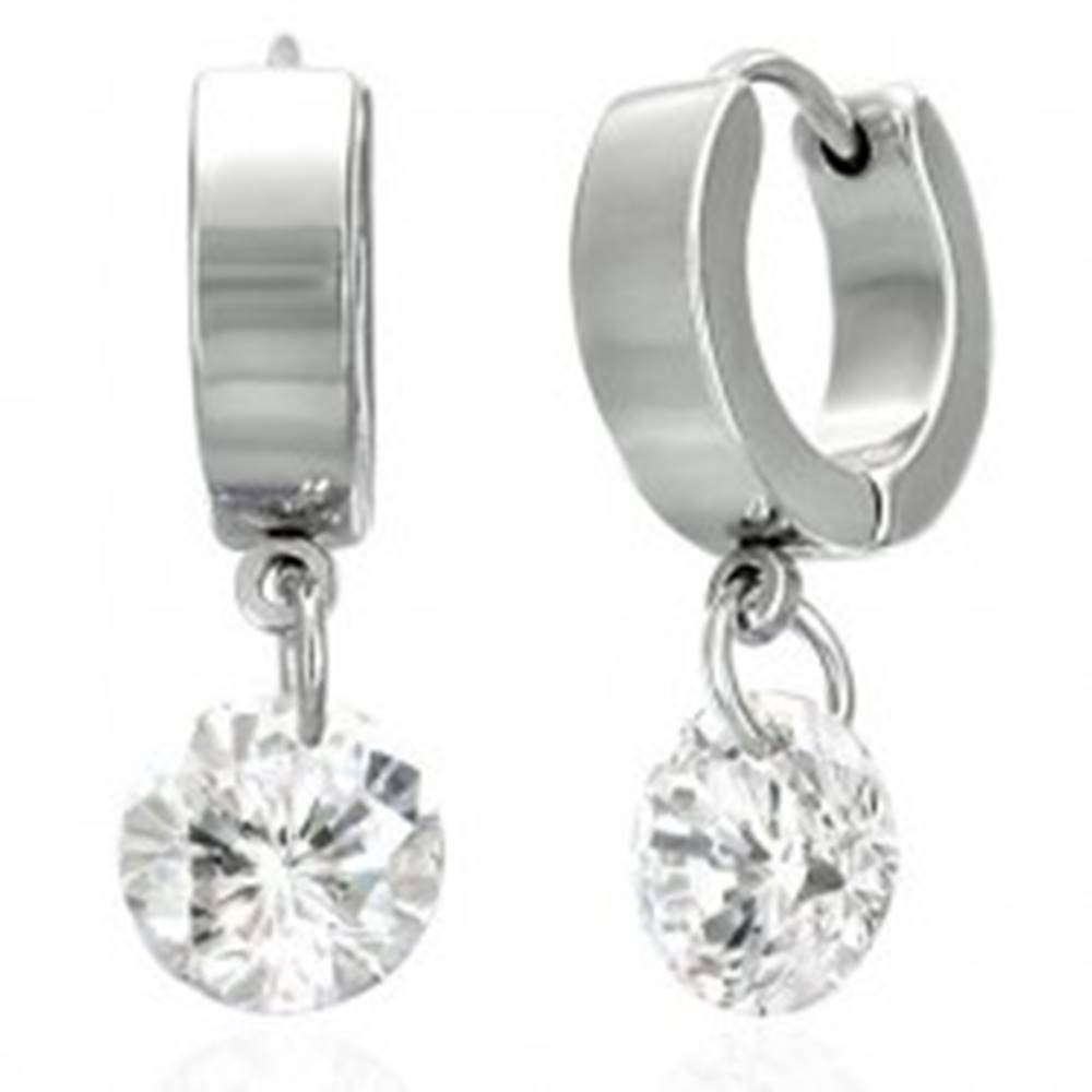 Šperky eshop Okrúhle náušnice z chirurgickej ocele, visiaci ligotavý zirkón čírej farby