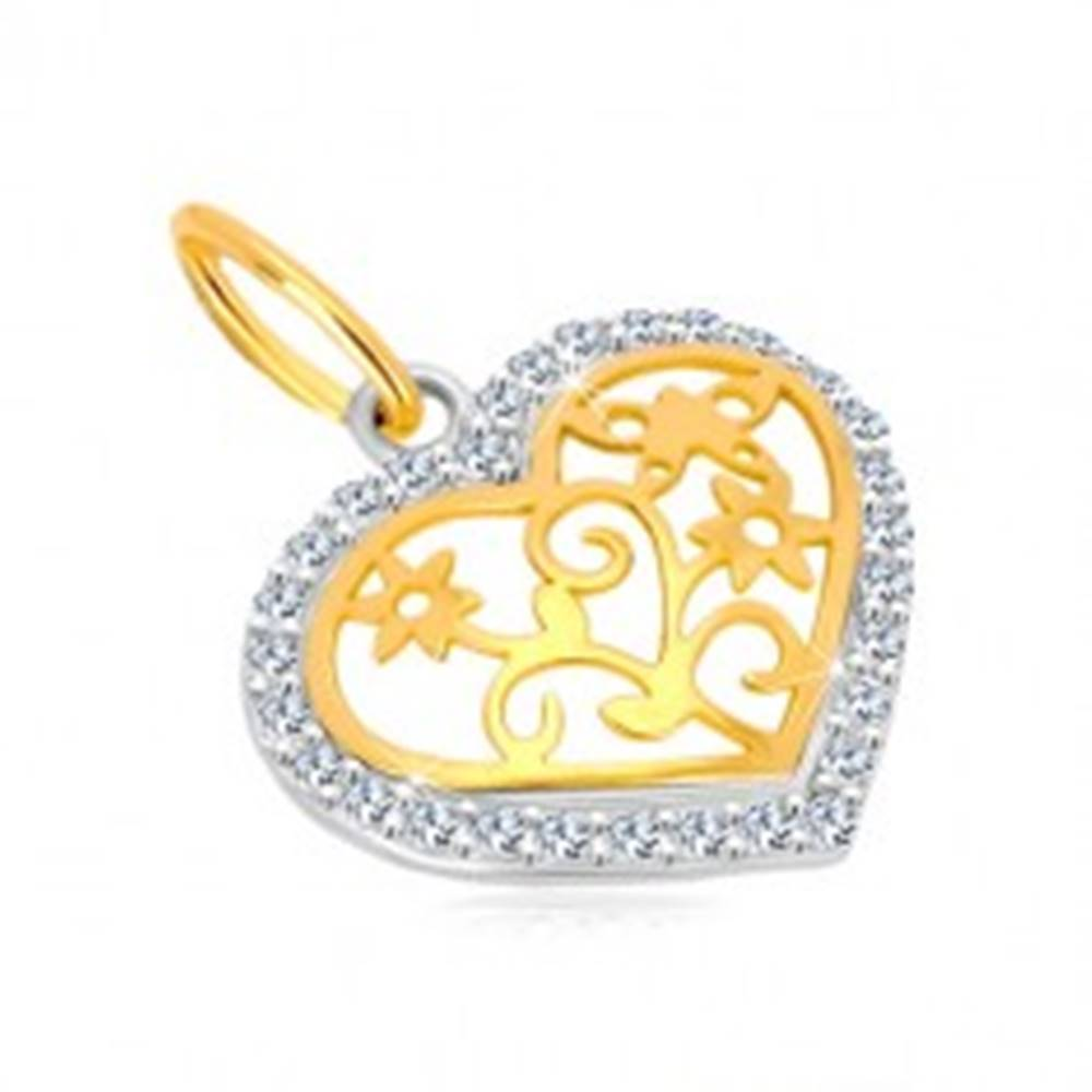 Šperky eshop Prívesok v 14K zlate - kontúra srdca so zirkónmi, ozdobne vyrezávaný stred