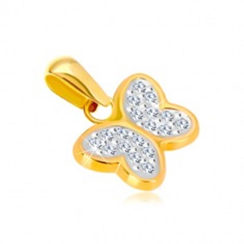 Šperky eshop Prívesok v kombinovanom zlate 585 - lesklý motýlik so zirkónikmi