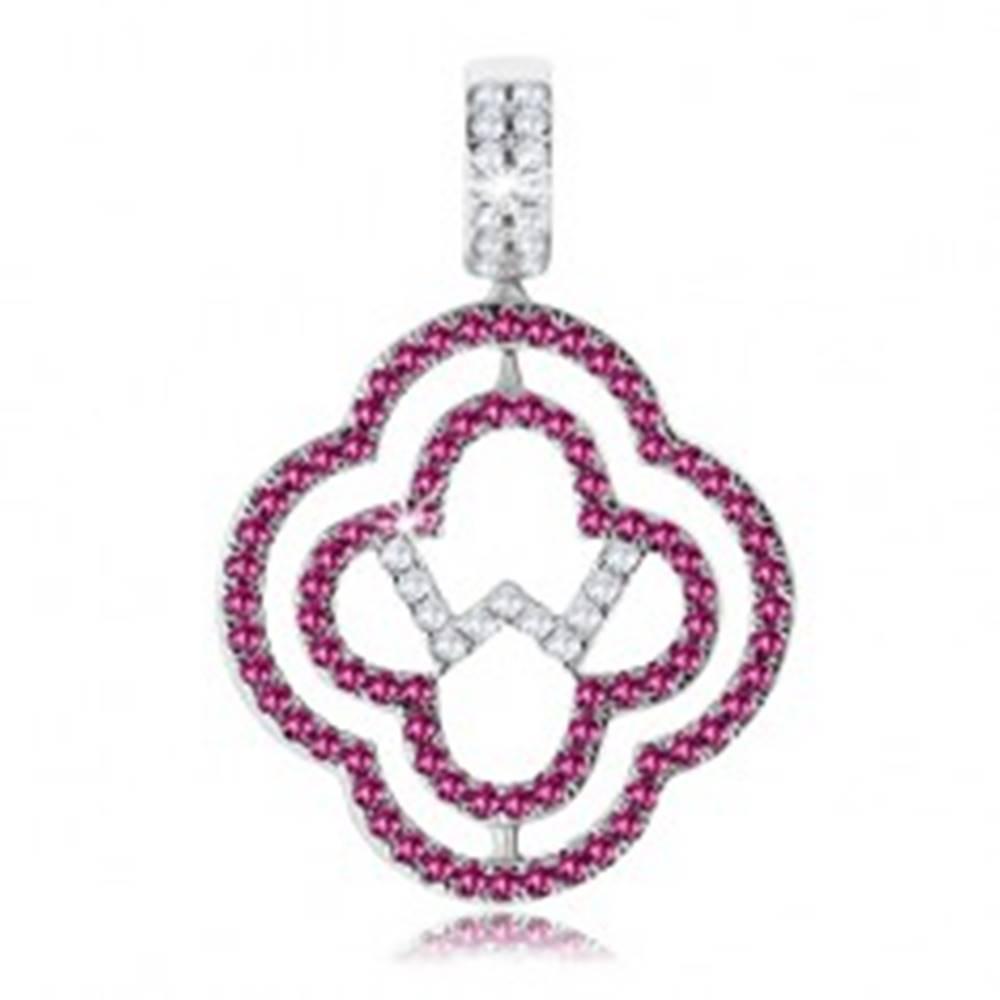 Šperky eshop Prívesok zo striebra 925, dva obrysy kvetov, ružové a číre zirkóniky