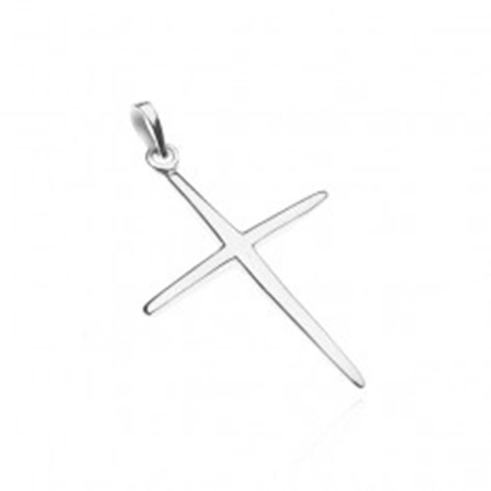 Šperky eshop Prívesok zo striebra 925 - lesklý tenký latinský kríž