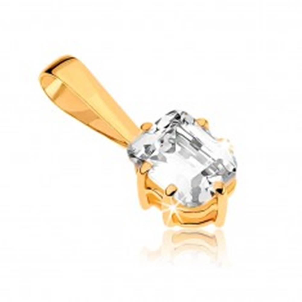 Šperky eshop Prívesok zo žltého zlata 9K - ligotavý vybrúsený obdĺžnikový zirkón