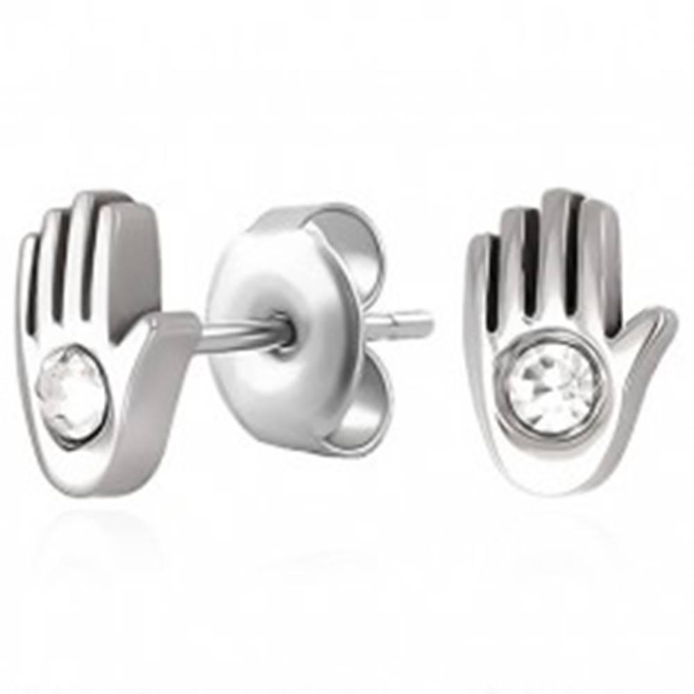 Šperky eshop Puzetové náušnice z chirurgickej ocele - ruka so zirkónikom