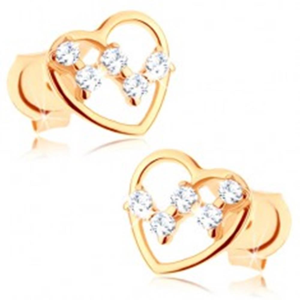 Šperky eshop Puzetové náušnice zo žltého 14K zlata - tenký obrys srdca, číre zirkóniky