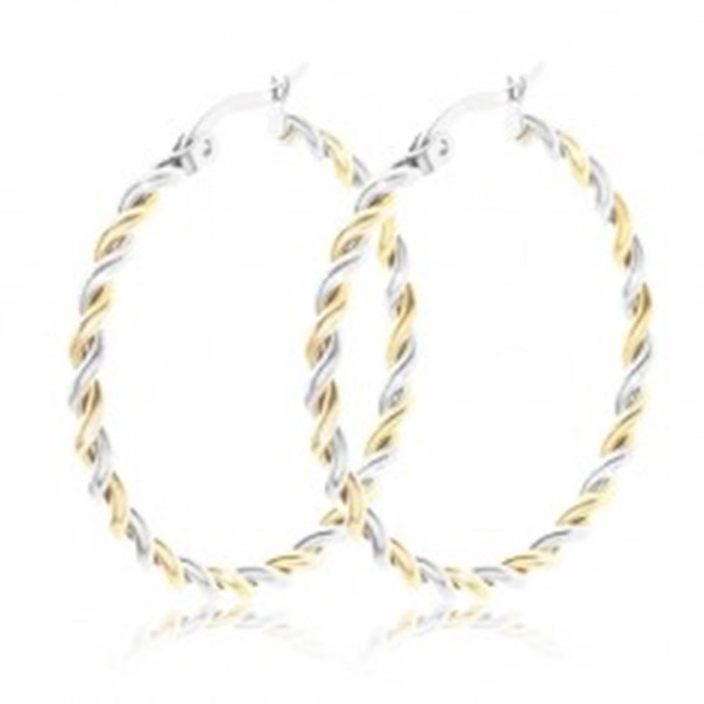 Šperky eshop Splietané náušnice z ocele 316L, kruhy, dvojfarebné prevedenie