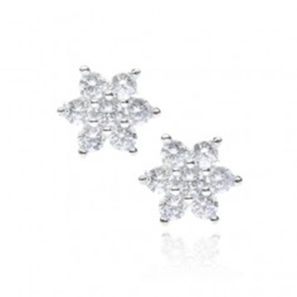 Šperky eshop Strieborné náušnice 925 - číry zirkónový kvet s puzetkou