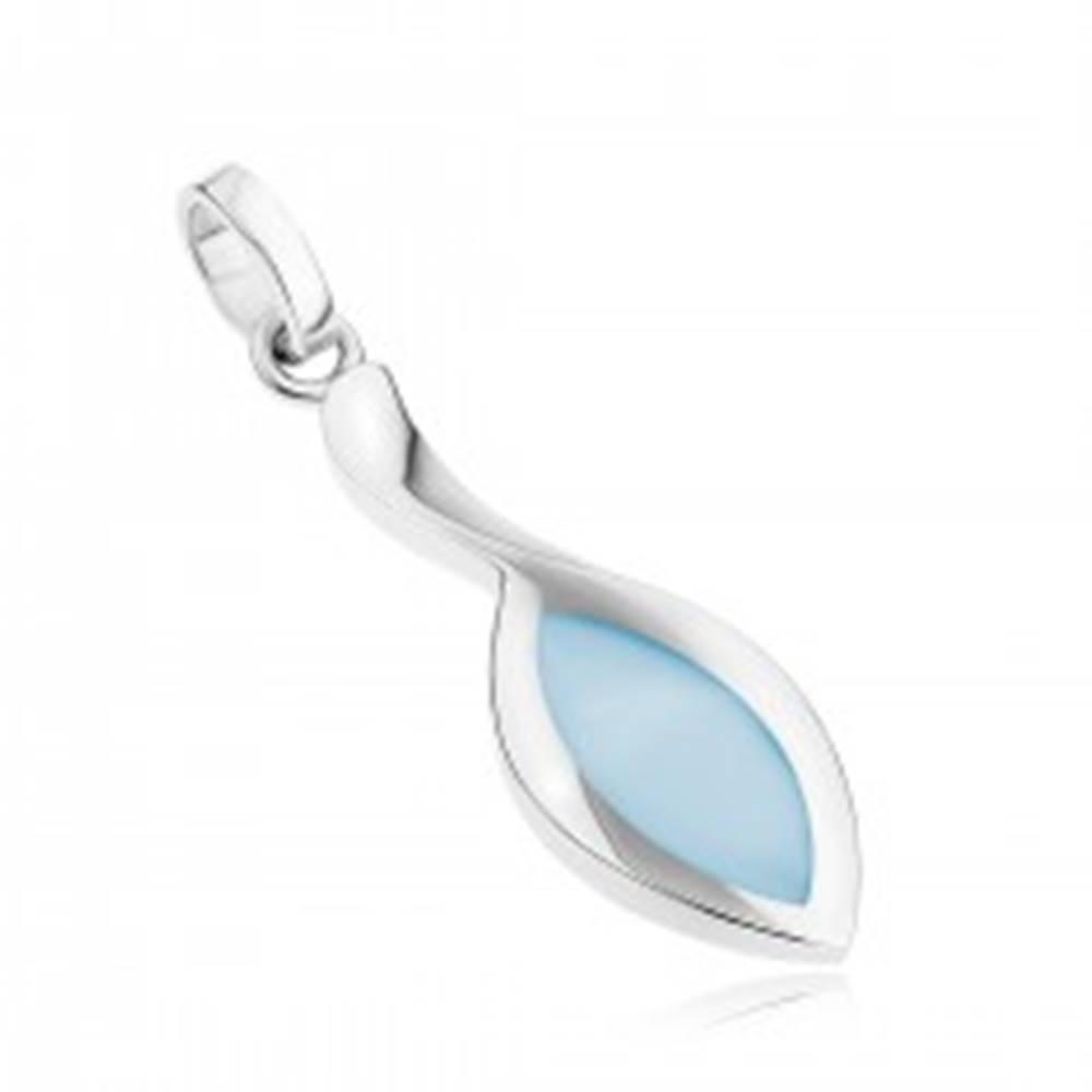 Šperky eshop Strieborný 925 prívesok, predĺžená línia, zrnko s modrou perleťou