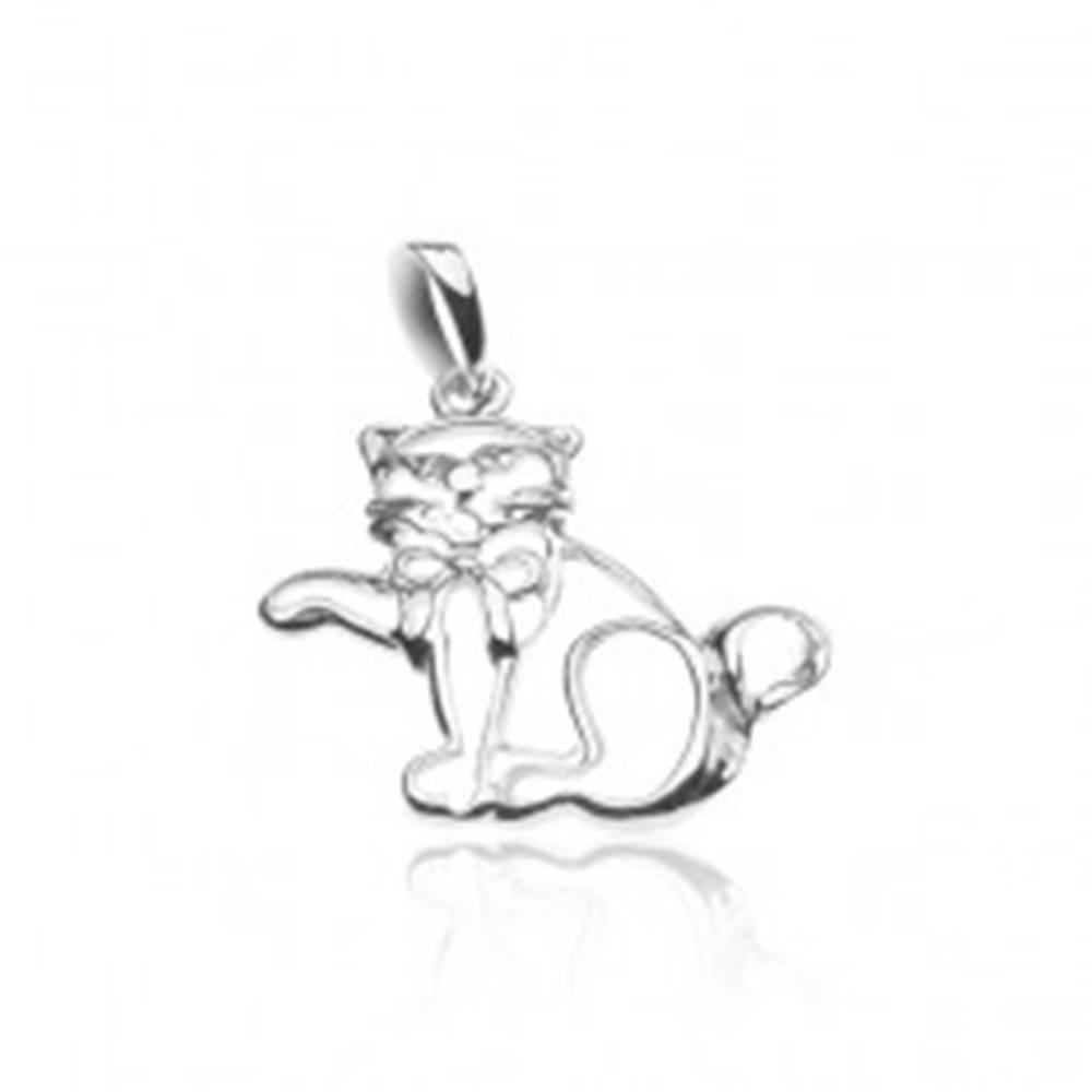 Šperky eshop Strieborný prívesok 925 - obrys mávajúcej mačky s mašľou