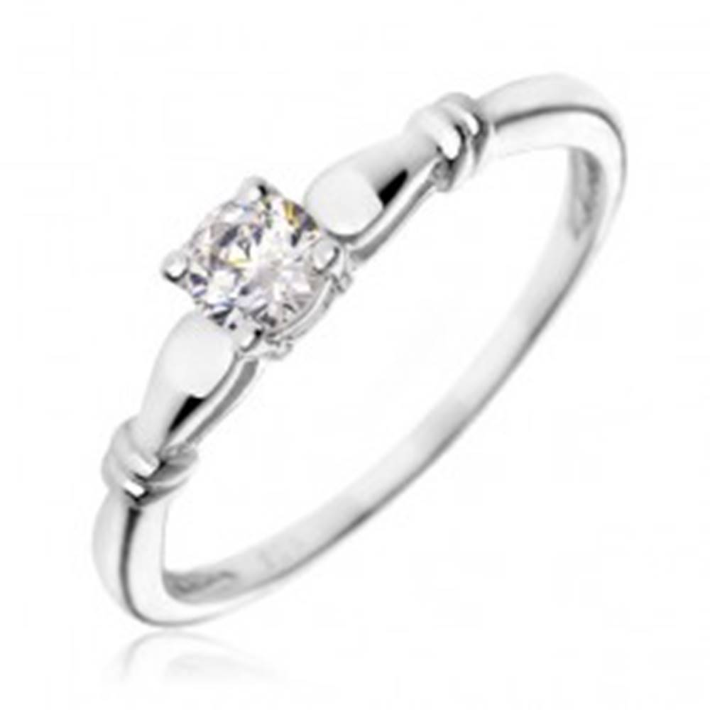 Šperky eshop Strieborný zásnubný prsteň 925 - číry zirkón, dvojité prstence - Veľkosť: 49 mm