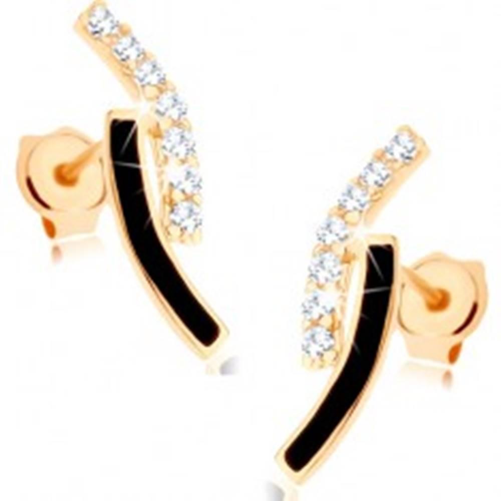 Šperky eshop Zlaté náušnice 585 - dva oblúky, línia čírych zirkónikov, čierna glazúra