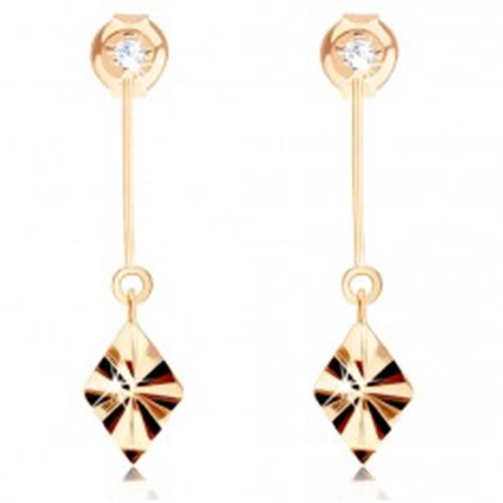 Šperky eshop Zlaté náušnice 585 - kosoštvorec s lúčovitými ryhami, palička, zirkón