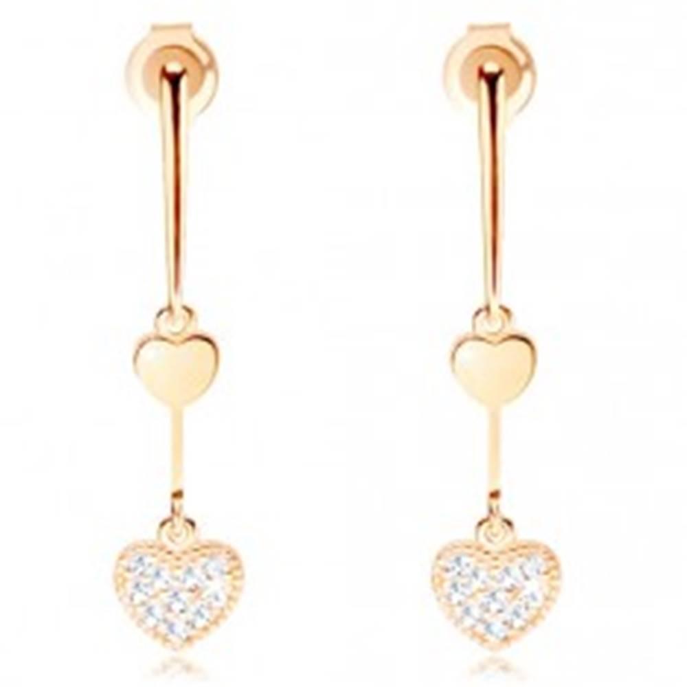 Šperky eshop Zlaté náušnice 585 - zúžená palička, dve srdiečka - hladké a trblietavé