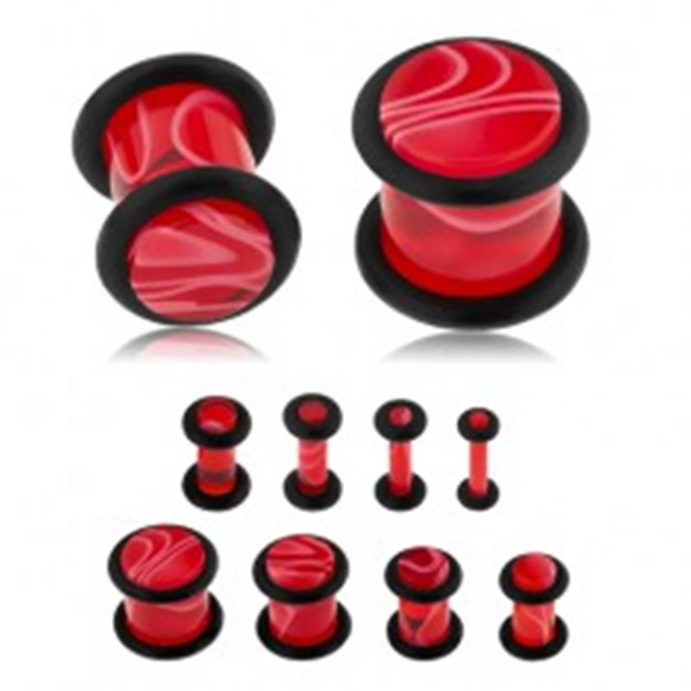 Šperky eshop Akrylový plug do ucha, červená farba, mramorový vzor, čierne gumičky - Hrúbka: 10 mm
