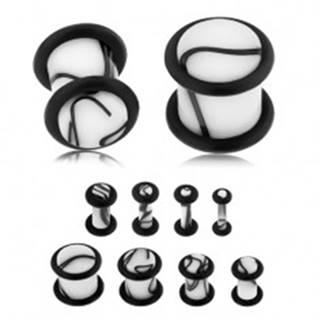 Akrylový plug do ucha bielej farby, čierny mramorový vzor, dve gumičky - Hrúbka: 10 mm