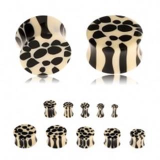 Akrylový sedlový plug do ucha, béžovo-čierny leopardí vzor - Hrúbka: 10 mm