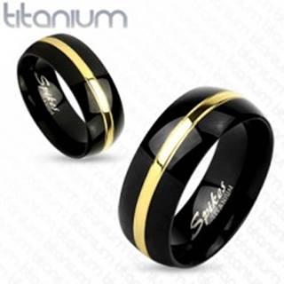 Čierna obrúčka z titánu, lesklý oblý povrch, pás zlatej farby, 8 mm - Veľkosť: 59 mm