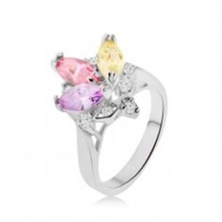 Lesklý prsteň - farebné zrniečkové kamienky v kotlíku, číre zirkóniky, korunka - Veľkosť: 48 mm
