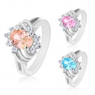 Ligotavý prsteň striebornej farby, veľký farebný ovál, tenké oblúky a číre zirkóny - Veľkosť: 48 mm, Farba: Ružová