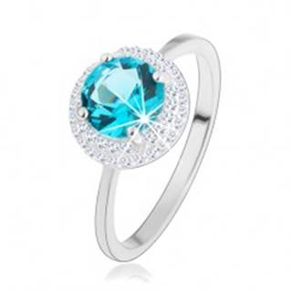 Ligotavý prsteň, striebro 925, okrúhly zirkón akvamarínovej farby, číry lem - Veľkosť: 46 mm
