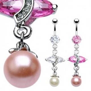 Luxusný piercing do bruška s veľkým oválnym zirkónom a perlou - Farba zirkónu: Ružová - P