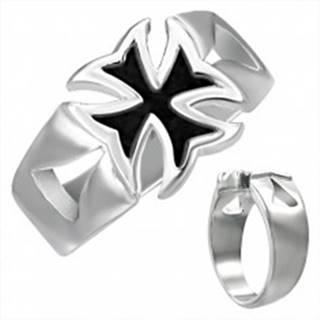 Mohutný oceľový prsteň s patinovaným maltézskym krížom - Veľkosť: 54 mm