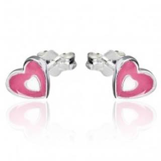 Náušnice zo striebra 925 - ružovo-biele srdce, puzetky