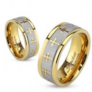 Oceľová obrúčka v zlatej a striebornej farbe, matný pás, krížiky, 6 mm - Veľkosť: 49 mm