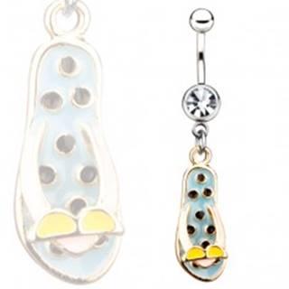 Oceľový piercing do pupku - modré žabky s okuliarmi