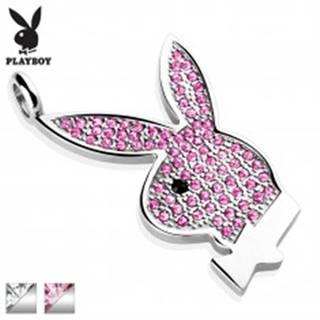 Oceľový prívesok Playboy, strieborná farba, zajačik vykladaný zirkónmi - Farba: Číra - čierna
