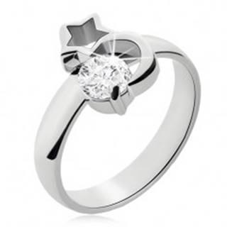 Oceľový prsteň striebornej farby, mesiac, obrys hviezdy a číry zirkón - Veľkosť: 49 mm