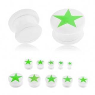 Plug do ucha z akrylu bielej farby, zelená päťcípa hviezda žiariaca v tme, gumička - Hrúbka: 10 mm
