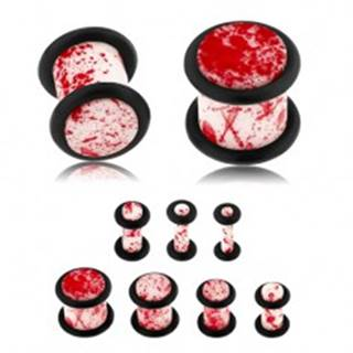 Plug do ucha z akrylu, biely povrch zdobený červenými škvrnami, gumičky - Hrúbka: 10 mm
